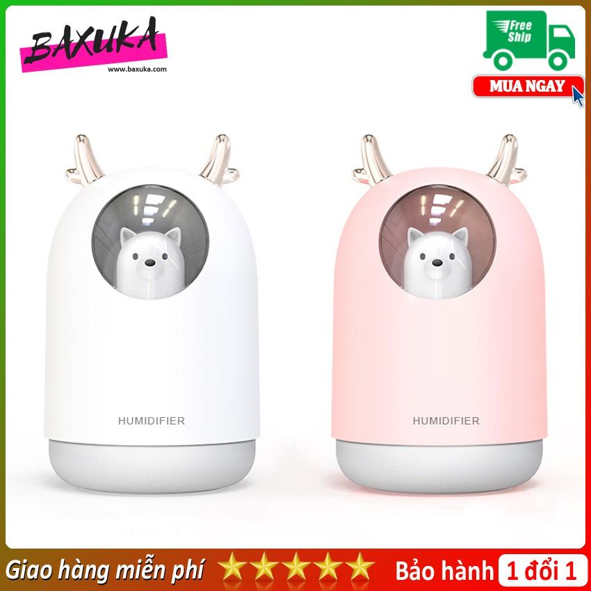 Mẫu 2020_ Máy xông tinh dầu tai gấu + Tinh dầu, đèn xông tinh dầu giá rẻ, dùng được sạc laptop có đèn ngủ Aroma Life