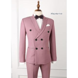 bộ vest nam màu hồng nhạt 6 cúc lịch lãm