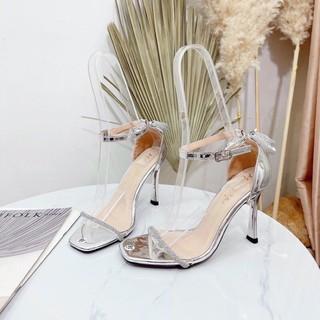 Bán sỉ Giày sandal nữ gót nhọn mới 9p quai bún đá bít gót nơ đá sau gót-Kèm ảnh thật