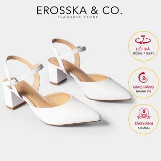 Giày cao gót Erosska thời trang mũi nhọn phối dây hở gót cao 5cm màu trắng _ EK001