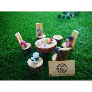Bộ bàn ghế mô hình gỗ mộc