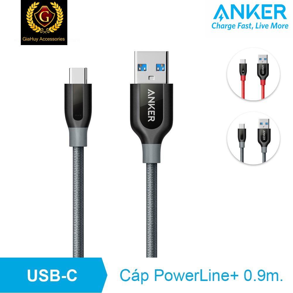 Cáp Anker PowerLine+, USB 3.0 Ra USB-C, Dây Dài 0.9m (có kèm túi đựng)
