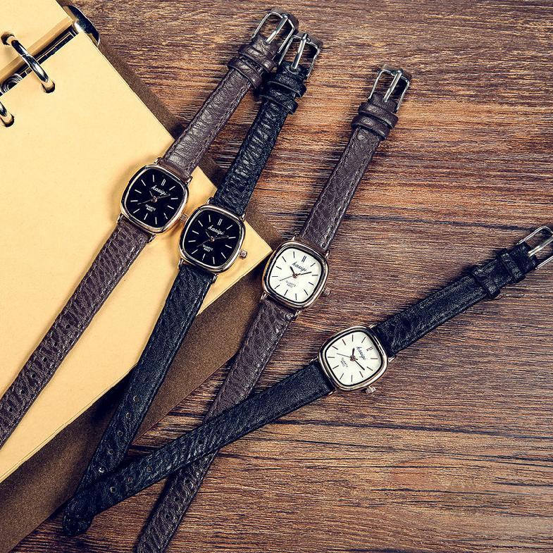 นาฬิกาผู้หญิงเข็มขัดแฟชั่นเกาหลีย้อนยุคเรียบง่ายนาฬิกาสแควร์ 460