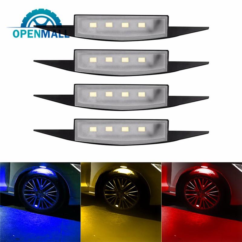 OM 2Pcs Car LED Strobe Wheel Lights Tire Flashing Atmosphere Lamp DRL Valve Lamp