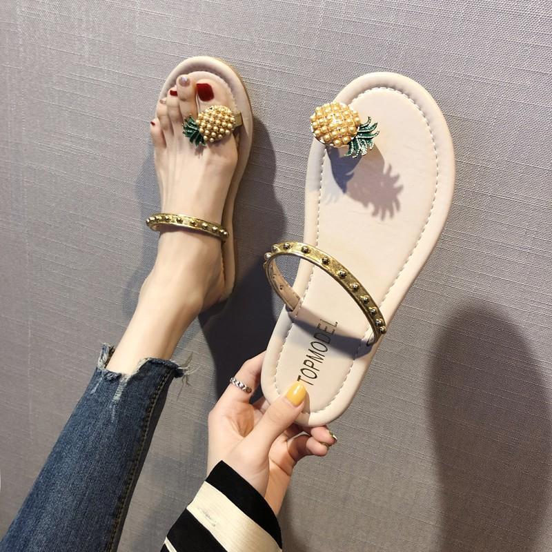 สับปะรด鸳鸯ผู้หญิงสวมรองเท้าแตะฤดูร้อนของผู้หญิงเท้าหาดรองเท้าแตะลม