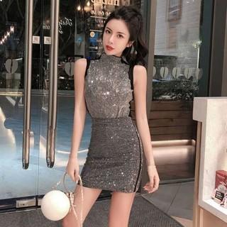 Hình ảnh Set Áo Thun Sát Nách + Chân Váy Lưng Cao Thời Trang Nữ-2
