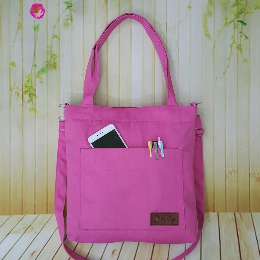 Túi tote vải canvas troy màu hồng