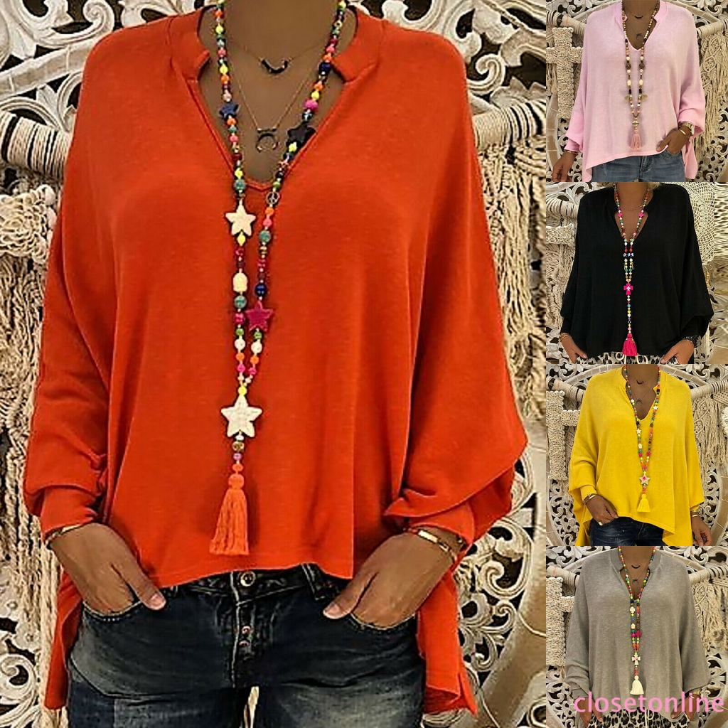 CL❀❀ Womens Long Sleeve Loose Fit Casual Oversized Plain Baggy Blouse Irregularity