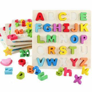 Bảng học chữ Tiếng Anh , học số Nổi gỗ