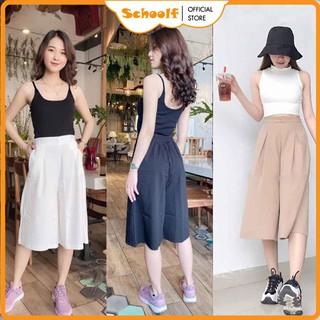 Quần ống rộng giả váy nữ chất đũi mềm mại, thoáng mát - Quần ống rộng lửng cạp cao Mix đồ cực Xinh SchoolF thumbnail