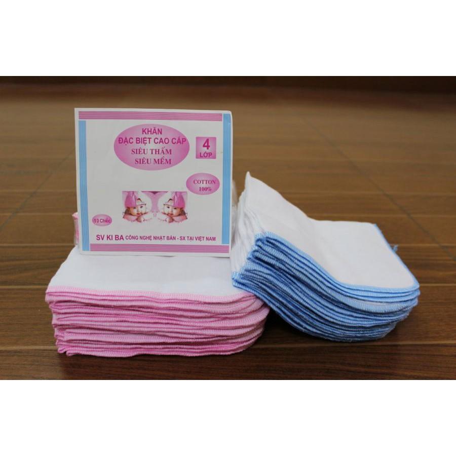 Bộ 10 khăn xô Kiba 2 lớp siêu thấm