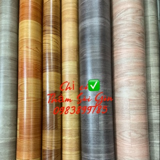 Thảm nhựa trải sàn vân gỗ loại mỏng 0.5mm 25k/m2 khổ 2m x 0,5m