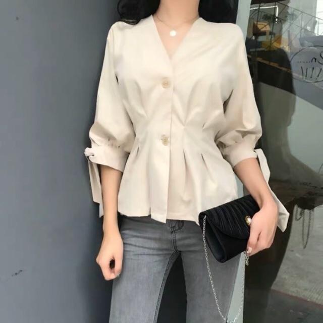ÁO SƠ MI DÁNG PEPLUM THẮT NƠ TAY (feedback) | Shopee Việt Nam