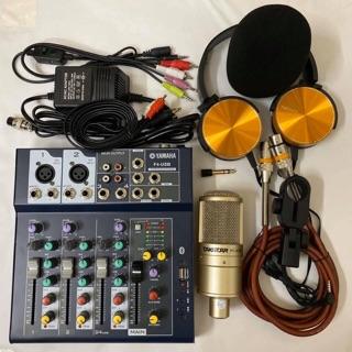 COMBO BỘ LIVESTREAM MIXER F4 BLUETOOTH MIC TAKSTAR PC-K200 tai nghe đầy đủ các dây kết nối