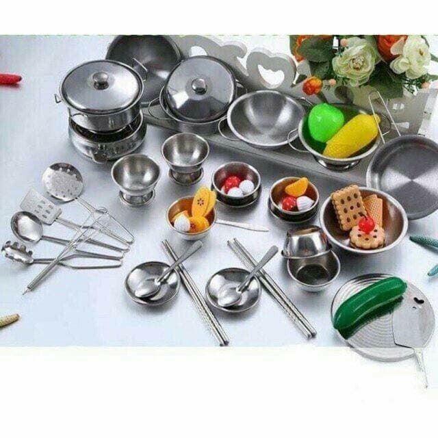 Giảm giá 34%_ BỘ ĐỒ CHƠI NẤU ĂN BẰNG INOX CAO CẤP CHO BÉ YÊU bộ đồ chơi nấu ăn...