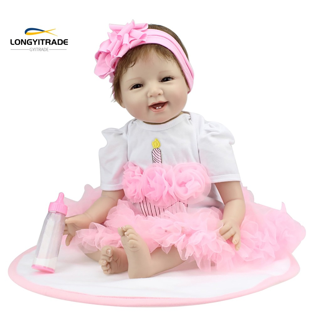 55cm Smiley Face  Doll Lifelike Vinyl Silicone Toy  Accompany
