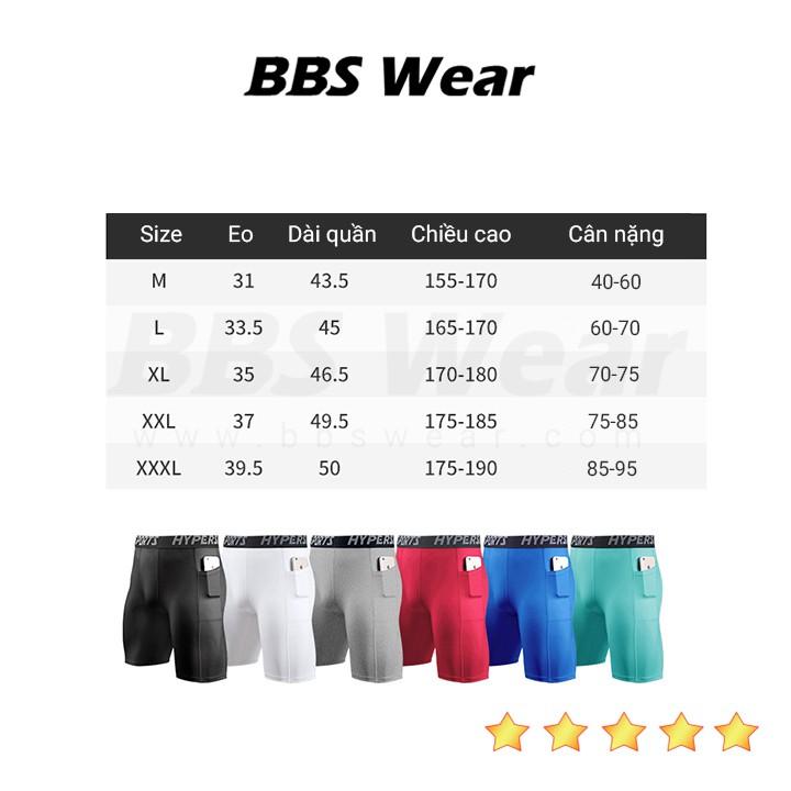 Quần Legging Ngắn COMBAT PRO - Quần thể thao nam dáng ngắn có túi chuyên GYM BBS WEAR Xuất Nhật (Xanh lam - MA70A)