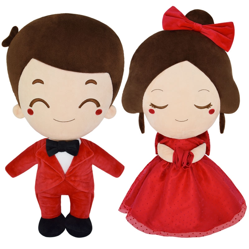 ✹▦Newlyweds Wedding Happy doll Room A pair of pressurized bed creative gift Plush Pillow