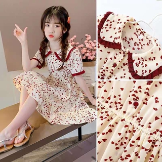 【Girl's Dress】Spring and Autumn New Girl Fashion Princess Dress Children's Clothes Summer Cute Chiffon Floral Short-sleeved Dress
