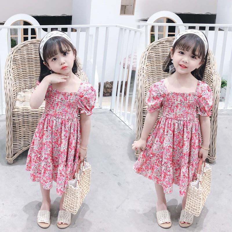 Váy, đầm VAI BỒNG dáng xòe, thoáng mát, dễ chịu họa tiết hoa hồng xinh xắn thời trang cho bé gái QATE24