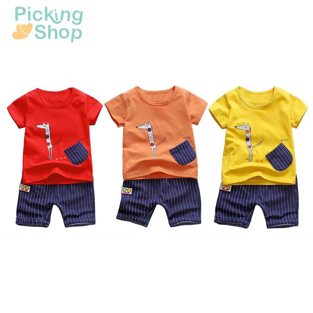 2pcs Boys Short Sleeve T Shirt Cartoon Print Tops Summer Cotton Shorts Set