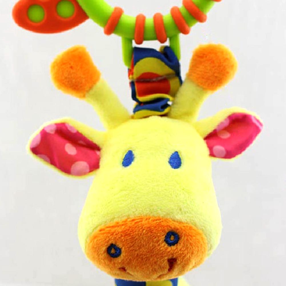 New Doll Plush Toy Infant Baby Development Soft Giraffe Animal Handbells Rattling Handle With Teething Ring