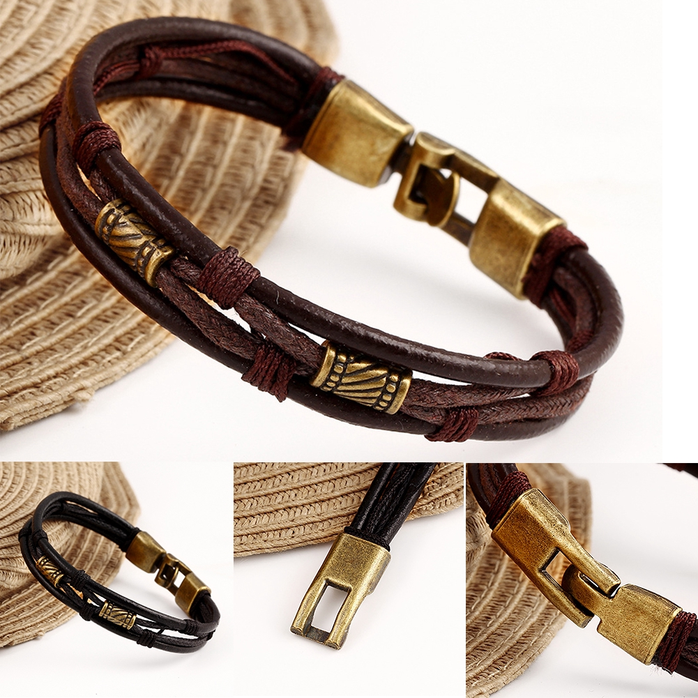 Multilayer Braided Men Bracelets Vintage Charms Multicolor Women Leather Bangles Jewelry