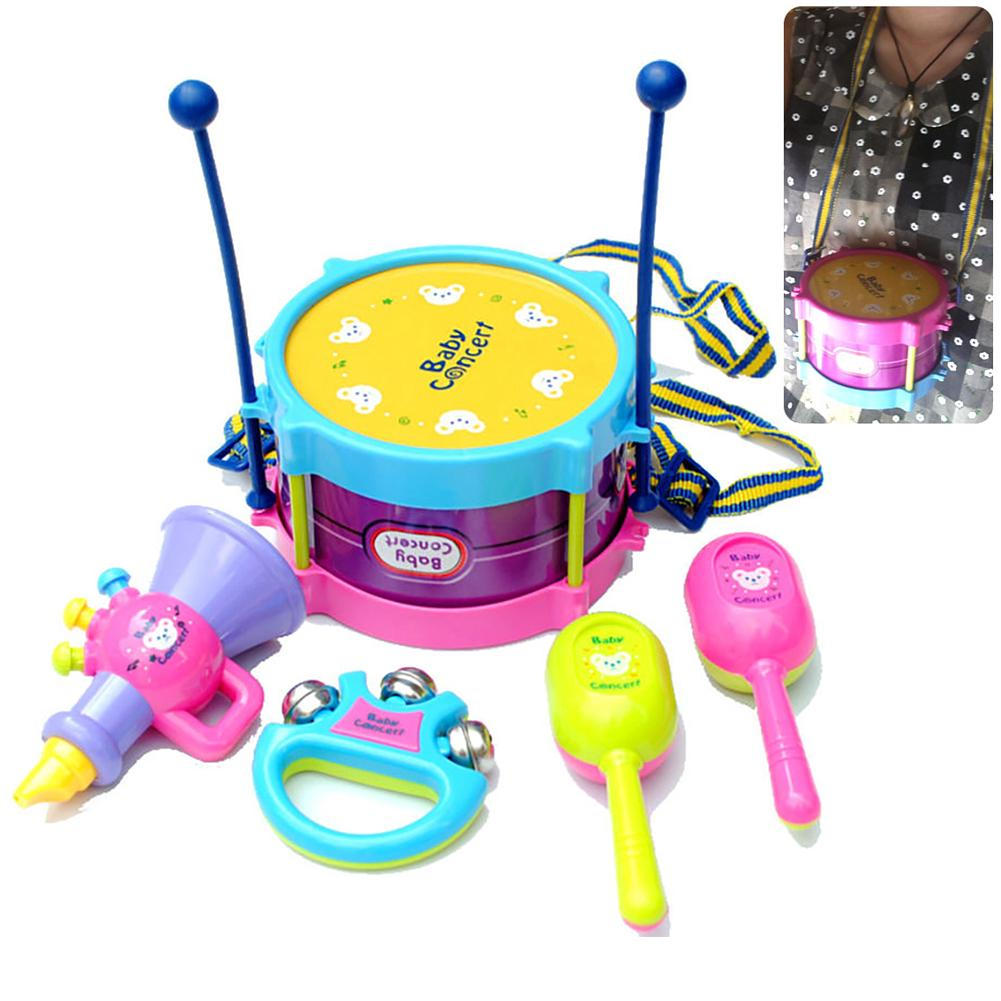 Kids Baby 5pcs Roll Drum Musical Instruments Band Kit Children Toy Gift Set