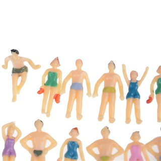 20pcs Coloful 1:75 Painted Model Beach Swimming People Figures