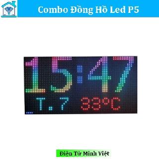 Combo Mạch Đồng Hồ + Led  Ma Trận P5 - CÓ CẮM USB