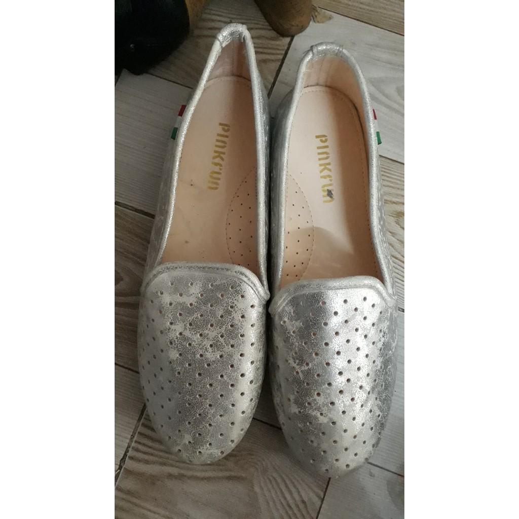 Giày lười xám bạc Quách Nguyệt