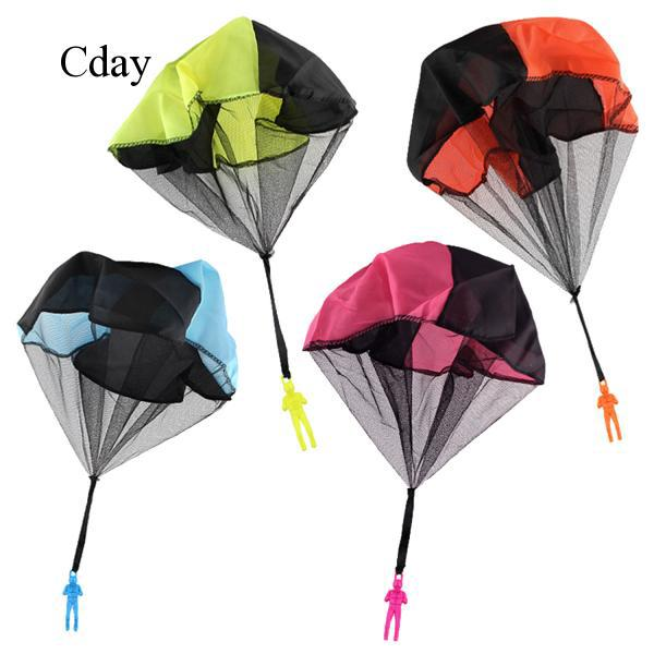 4x Tangle Free Hand Throwing Parachute Figures Toy Children Flying Toys