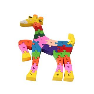 BOBORA English Alphabet Deer Puzzle Assembled Building Blocks Wooden Educational Toys 3D Puzzles