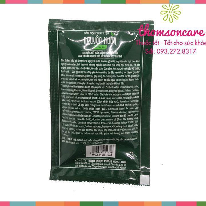 Dầu gội dược liệu Nguyên Xuân dạng gói - Dây 10 gói từ thảo dược, ngăn ngừa gàu, giảm rụng tóc