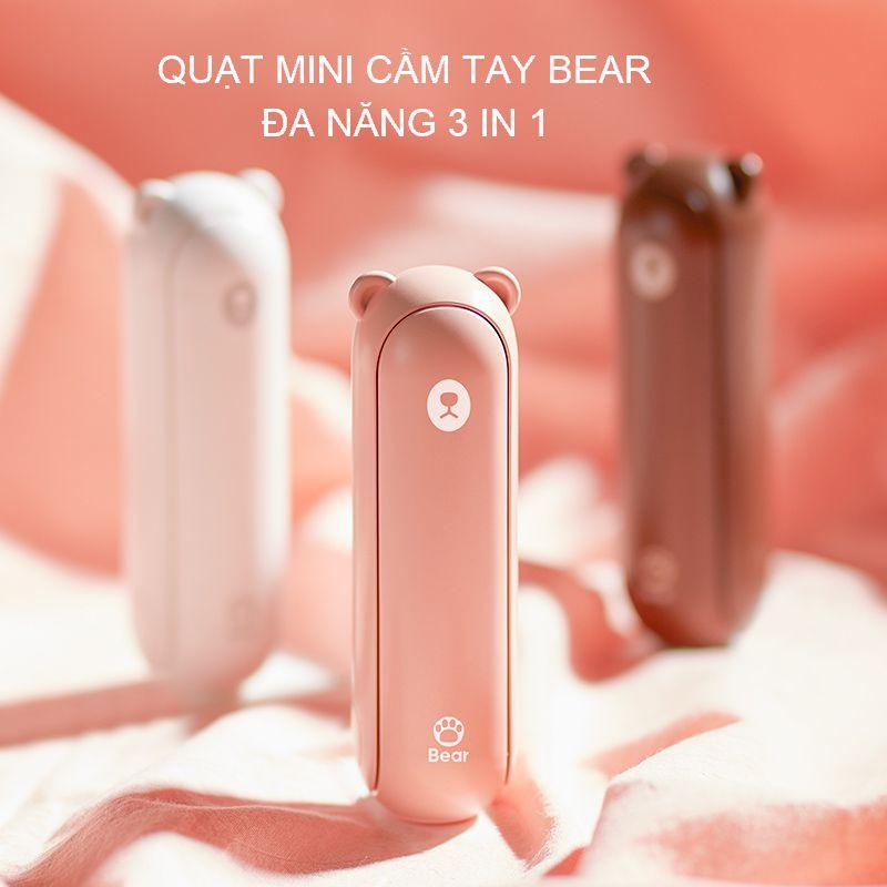 Quạt mini cầm tay 3 trong 1 hình gấu bear F8, quạt tích điện cầm tay Jisulife kiêm đèn pin và sạc dự phòng tiện lợi