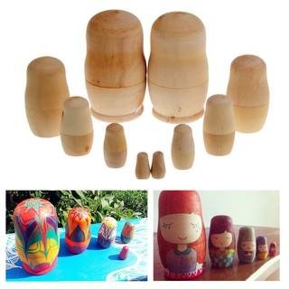 5 x Unpainted DIY Blank Wooden Embryos Russian Nesting Dolls Matryoshka Toy Gift