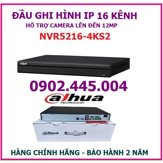 Đầu ghi hình 16 kênh dahua NVR5216-4KS2, hỗ trợ gắn 2 ổ cứng , gắn camera lên đến 12MP