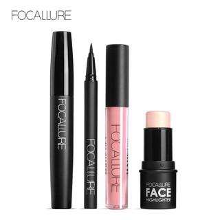 Bộ mỹ phẩm FOCALLURE 4 món gồm son môi + bút kẻ mắt + mascara + thỏi bắt sáng đa năng tiện dụng  120g/1pc