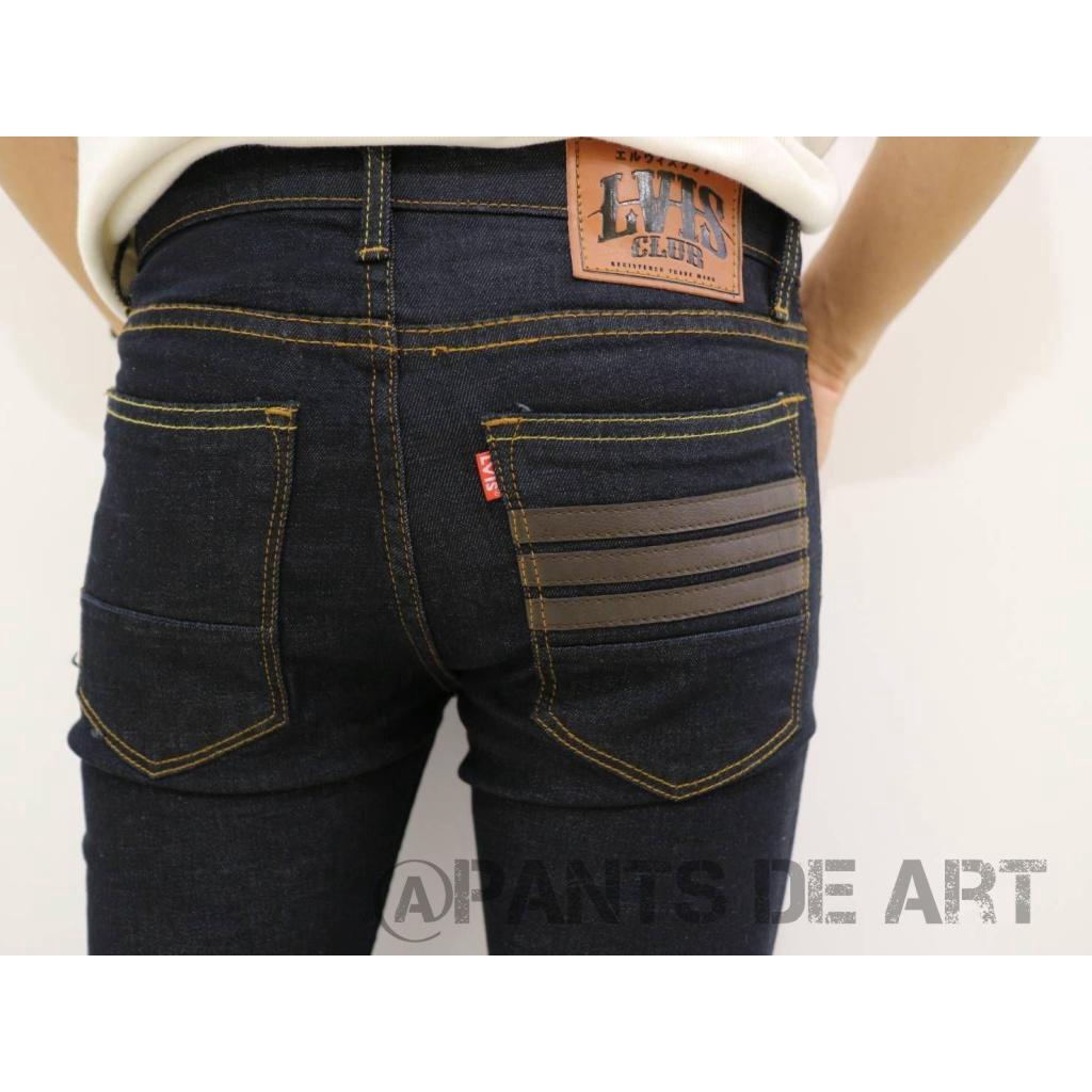 PANSDEART กางเกงยีนส์ชาย ทรงSLIM สีดำมิดไนด์ เพิ่มแถบหนัง ผ้ายืดเล็กน้อย เป้ากระดุม SIZE28-36ANSDEART กางเกงยีนส์ชาย ทรง