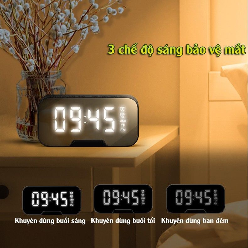 Đồng Hồ Loa G10 Mặt Gương Hiển Thị Đèn Led - Loa Bluetooth - Đài FM - Đồng Hồ Báo Thức 3