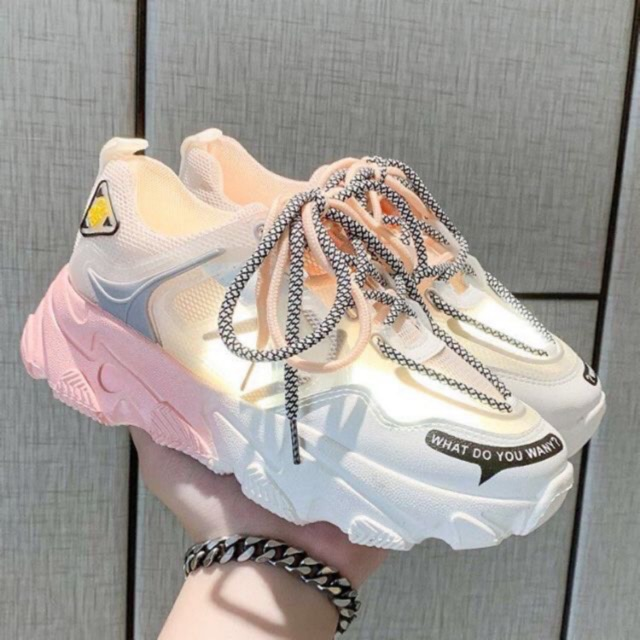 Giày thể thao nữ phối lưới đế màu