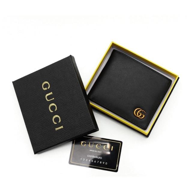 Ví nam các hãng ví ngang logo đồng DA XỊN  màu đen hàng cao cấp full box hộp y hình