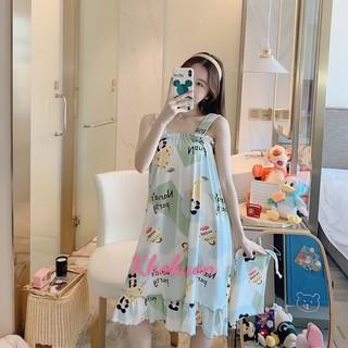 Váy ngủ nữ 2 DÂY CHẤT THUN SỮA không nhăn , đầm ngủ màu sắc dễ thương bầu bí mặc vẫn đẹp V284