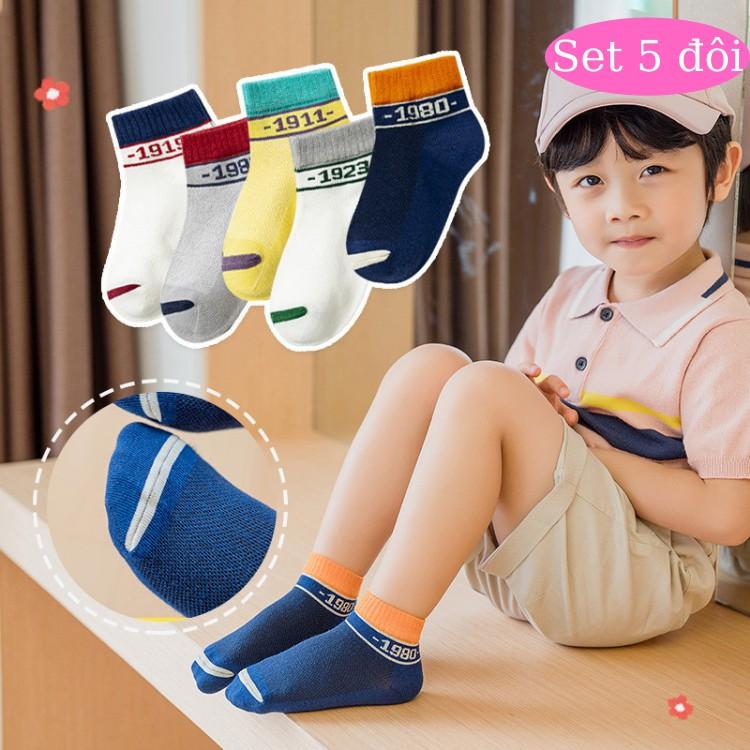 Set 5 đôi tất lưới cho bé nhiều họa tiết hoạt hình dễ thương, vớ trẻ em nhiều màu sắc