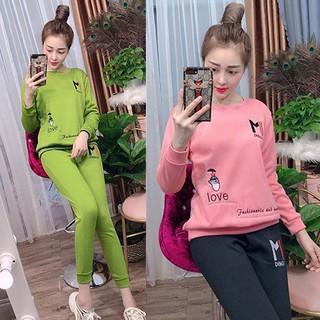 Bộ quần áo thu đông đẹp, mặc ở nhà chất liệu vải cotton, quần dài tay dài – Chất liệu nỉ co giãn 4 chiều thoáng mát A011