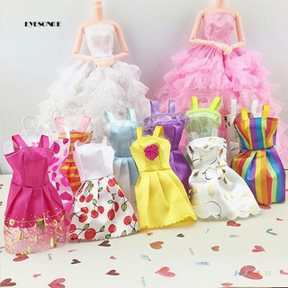 ♕10Pcs/Lot Mixed Colors Styles Toy Clothes Tutu Princess Dresses for Dollhouses