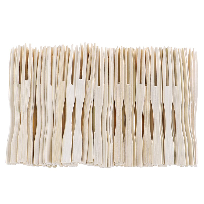 Youyimaoli 100pcs/set bamboo cocktail forks bbq fruit pick beige 9cm stick skewers