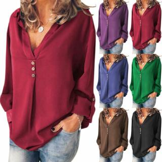 Plus Size Women Plain Blouse Loose Casual V Neck Long Sleeve Plus Size