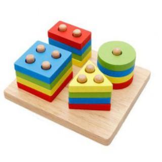 [Xả Kho] Đồ chơi xếp hình bằng gỗ cho bé dạng hình trụ – Đồ chơi thông minh