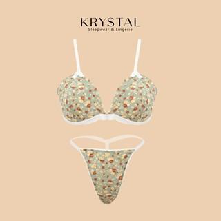 Bộ đồ lót sexy gợi cảm không gọng mút vừa nâng ngực màu xanh chất cotton họa tiết hoa KRYSTAL Bralette KSB11 thumbnail